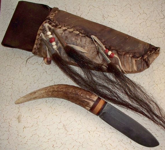 Primitive Mountain Man Elk Handled Knife with decorated Rawhide sheath https://www.etsy.com/shop/misstudy