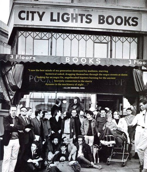 City Lights Booksellers and Publishers. Gathering of the clan, with the beginning of Howl superimposed.