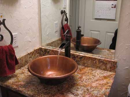 Here Is A Nice Shot Of Customer Jane T S Round Rolled Rim Copper Bathroom Sinkscopper Vesselwaterfall