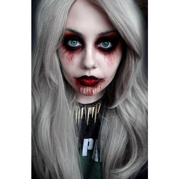 25 Makeup and Nail Looks for Halloween {The Weekly Round UP} found on Polyvore featuring beauty products, makeup, halloween, people, evening makeup and holiday makeup
