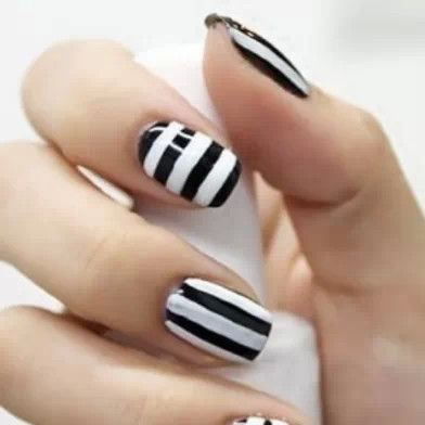 black and white striped nails