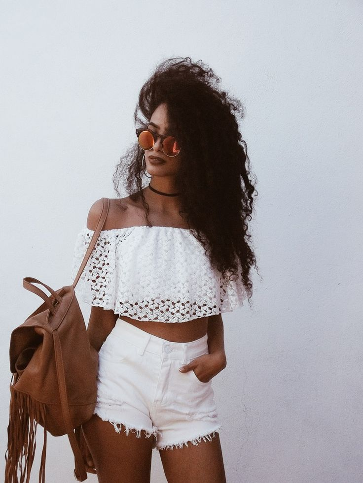 Street style, casual outfit, boho chic, summer chic, white shoulder off top, white shorts, brown backpack