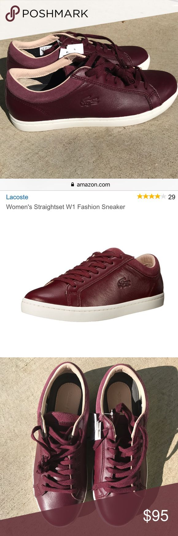 NWT Lacoste Leather Sneakers NWT Lacoste Straightset Leather Sneakers. Deep Burgundy 100% leather upper. Rubber soles. Low top casual sneaker with a lightly padded suede collar and embossed logo. Size 8. I have these in a different sizes and they are so comfortable! No trades. Retails $119 currently on Amazon. As seen in Glamour Magazine! Price firm only on Flash Sales, otherwise open to reasonable offers! Lacoste Shoes Sneakers