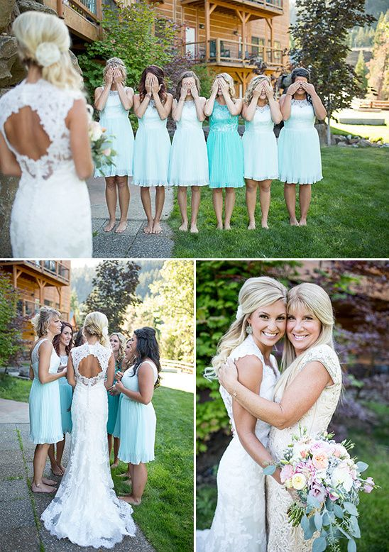 surprise bridal party first look