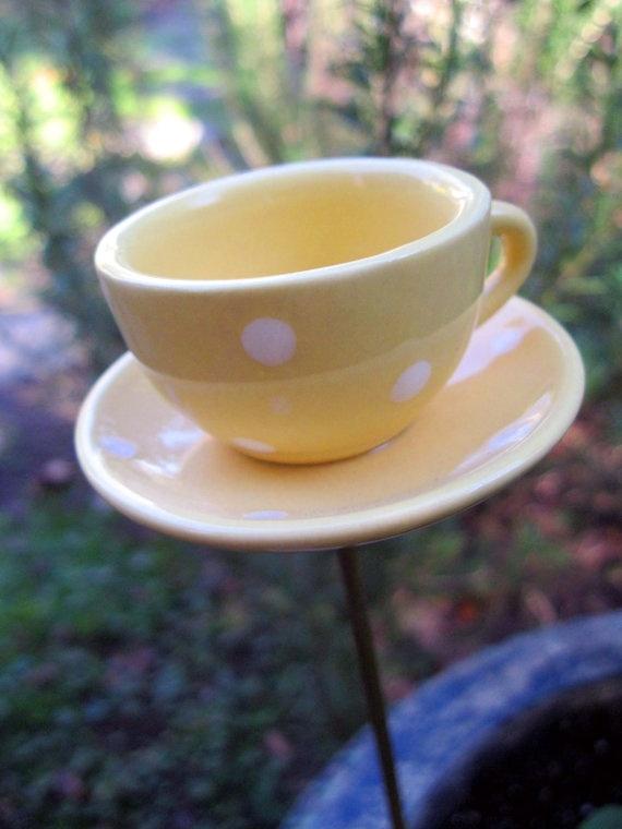 tea cup garden decor coffee cup porcelain polka dots - Open Garden Decor