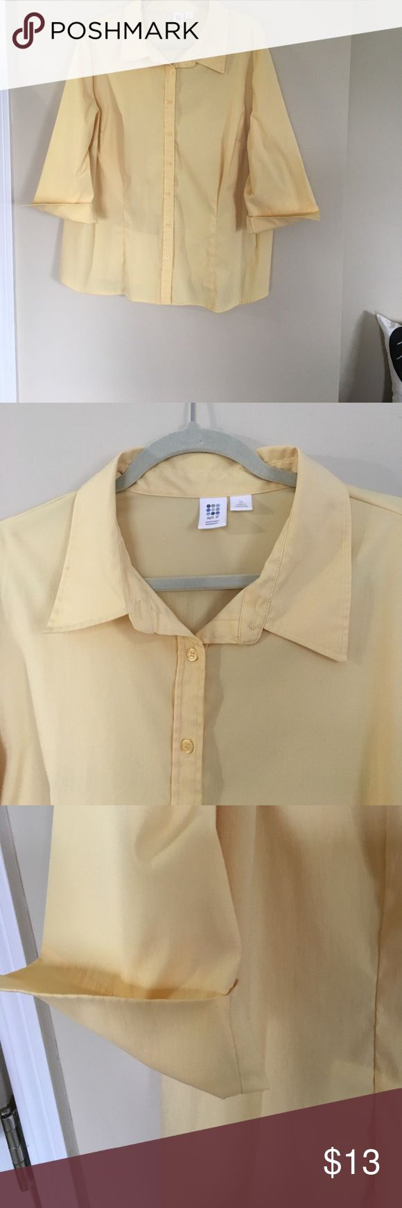 Light yellow dress shirt Great fit polyester blend light yellow 3/4 sleeve dress shirt Apt. 9 Tops Button Down Shirts
