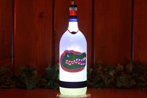 Florida Gators Decal Accent Lamp - Gift Graduates - Alumni - College Football - UF - Man Cave - Wine Bottle Lights - Home Bar - Dorm Sign