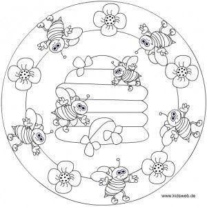 spring bee mandala coloring