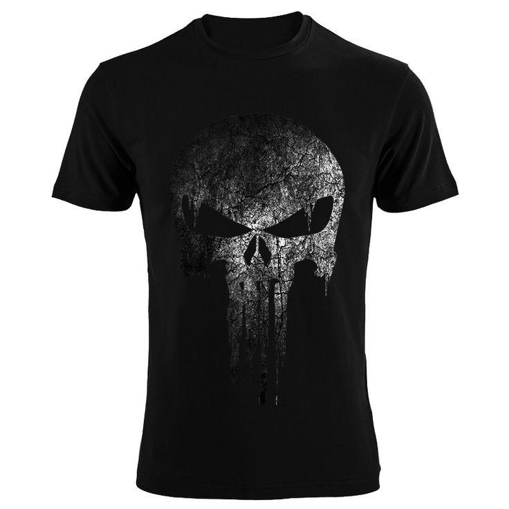 The Punisher Skull  Men  Fashion T Shirt  Print  Marvel Comics Supper Hero Clothes HIP-HOP Style Summer T shirt Own Design