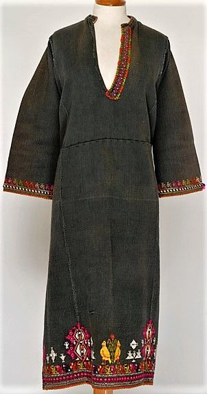 Greek woman's chemise, from Thrace.  First half of 20th century.  Cotton, embroidered.  Part of a festive costume.  (Source: Lyceum Club of Greek women, Athens).
