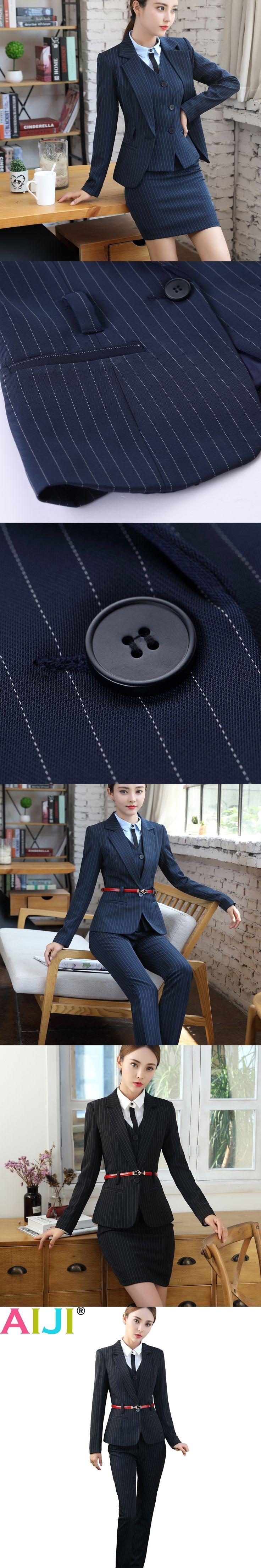 Women sashes work trouser suit business fashion formal long sleeve stripe navy blazer pants set office ladies plus size suits