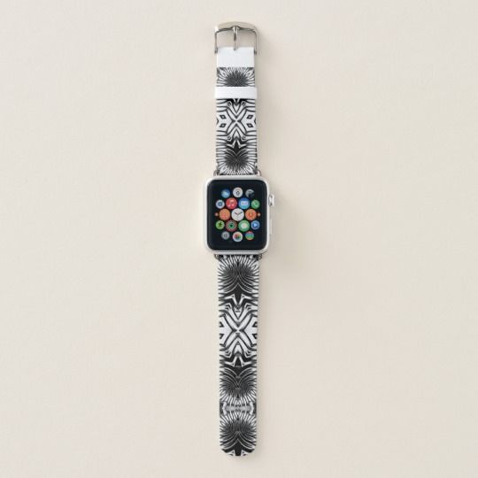 Wild Edgy Tribal Design • Black & White Apple Watch Band