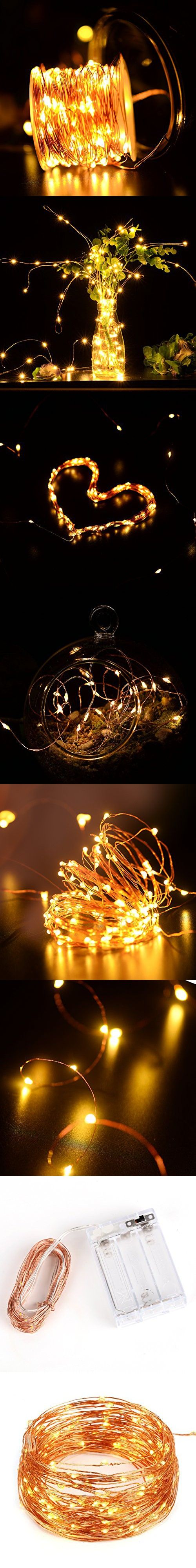 Copper Wire Light Strings, LTROP 33ft 100 LED Battery Powered Starry String Lights, Ambiance Lighting Décor Rope Light for Outdoor, Garden, Home, Party, Christmas (Battery Not Included)-Warm White