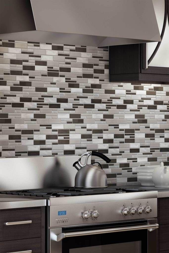 Beautiful Kitchen Backsplash Glass Metal Mosaic Tile
