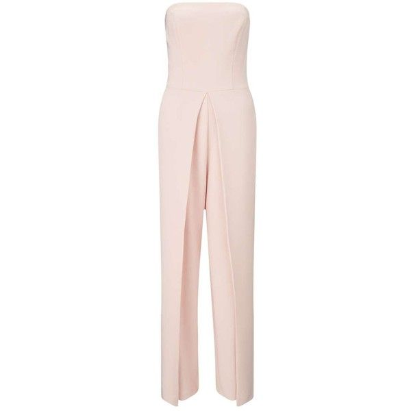 Miss Selfridge Nude Bandeau Jumpsuit (£34) ❤ liked on Polyvore featuring jumpsuits, nude, jump suit, miss selfridge, bandeau jumpsuit, sleeveless jumpsuit and pink jumpsuit