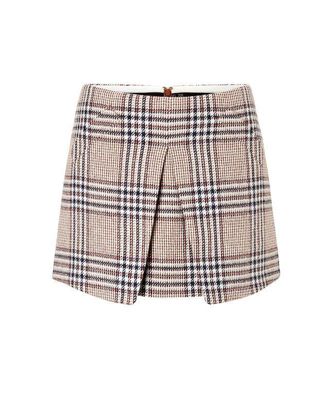 Rachel Zoe Tartan Print Wool Mini-Skirt
