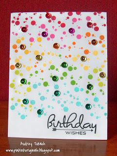 Sequins!  A fun confetti punch in bright colors makes a perfect background for these shiny sequins - diy birthday card.