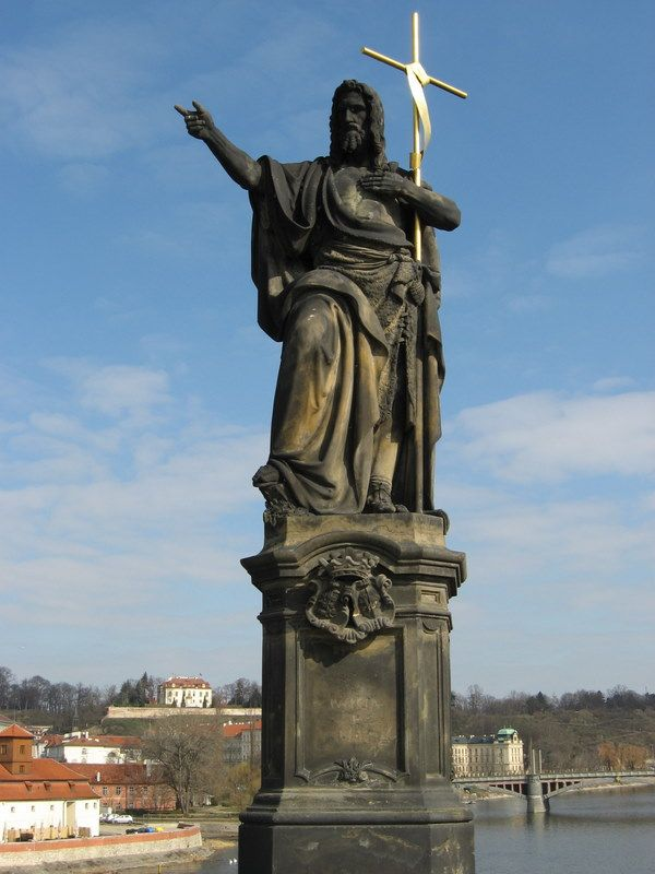 Photos of Charles Bridge North Side Statues: Statue of St. John the Baptist on Charles Bridge