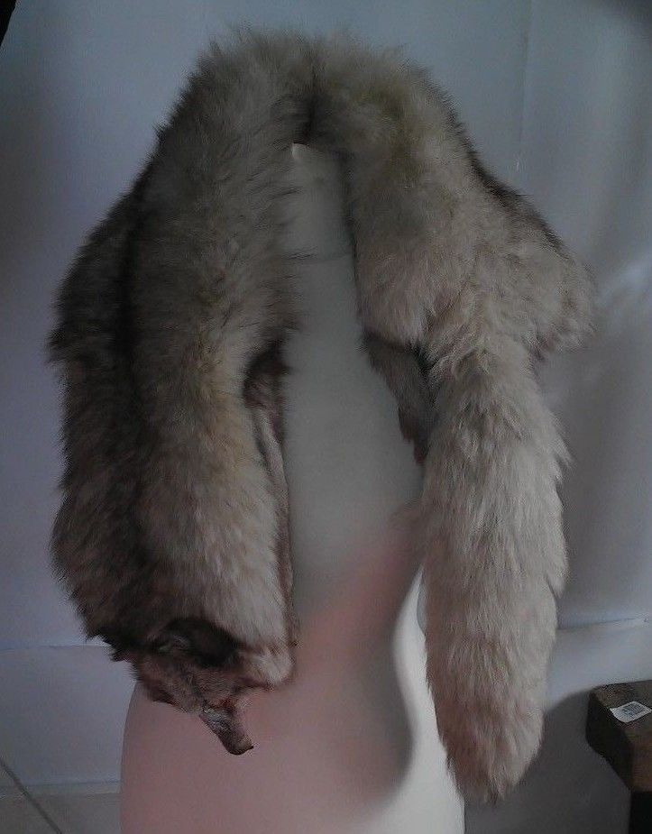 Genuine whole skin Fox fur collar / fur scarf / cape  gray   #Handmade #Scarf