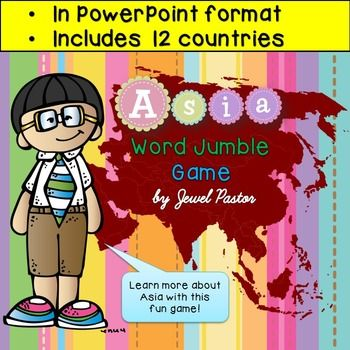 """""""Asia Word Jumble Game"""" is a PowerPoint resource that can be used to learn about Asian countries. This 18-page resource contains a cover, brief introduction, 12 slides for different Asian countries, credits and terms of use.  Students are shown the question through the interactive whiteboard or SmartBoard."""
