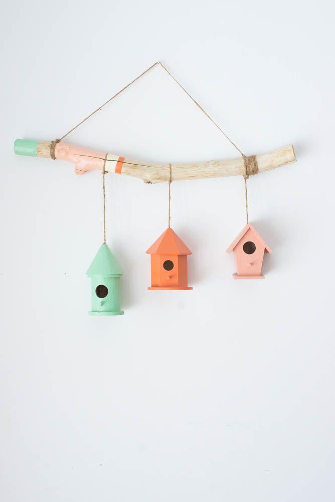 Suspension Murale / 21 pouces / Bois Flotté / Nichoirs / Cabanes Oiseaux / Chambre Bébé / Décoration Murale / Enfant / Fille / Mobile de la boutique Laflechedeco sur Etsy