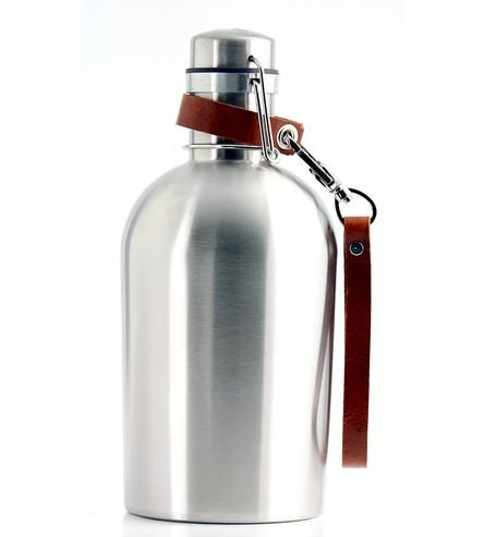 Stainless Steel Growler & Leather Strap | Grooms and Groomsmen Gifts | Pedal Happy | Scoutmob Shoppe | Product Detail