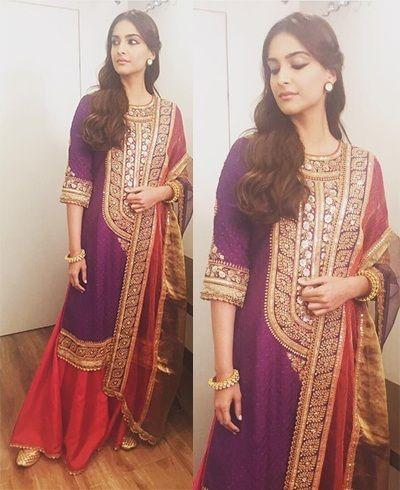 visit us https://www.facebook.com/punjabisboutique @nivetas Sonam Kapoor in Anuradha Vakil outfits