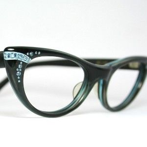 Vintage 50s Satin Deep Blue Cat Eye Eyeglasses Frame♥