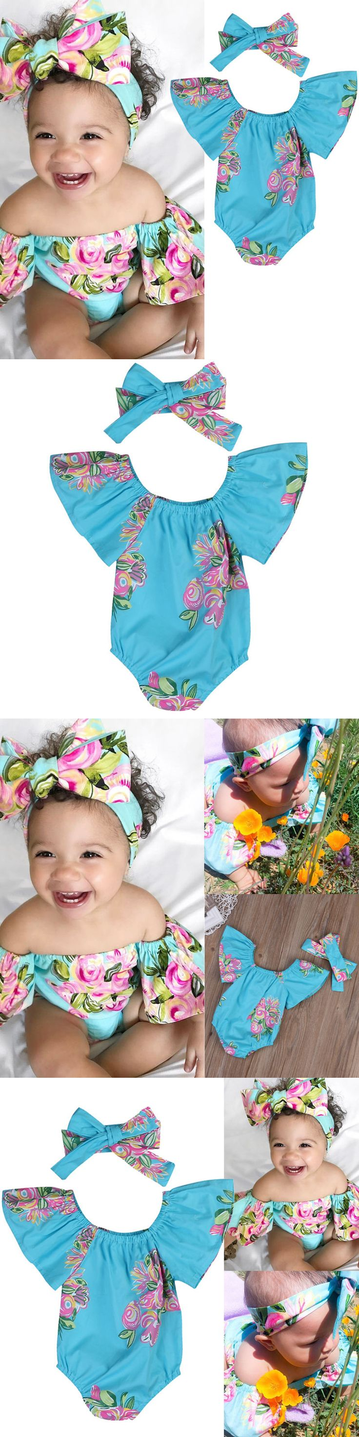 Baby Girls Clothing: Cute Newborn Baby Girl Romper Bodysuit + Headband Outfits Floral Sunsuit Clothes -> BUY IT NOW ONLY: $7.99 on eBay!