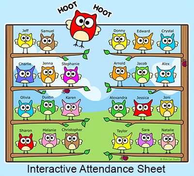 Owl Friends Interactive Attendance Sheet for Interactive Whiteboards by Pink Cat Studio
