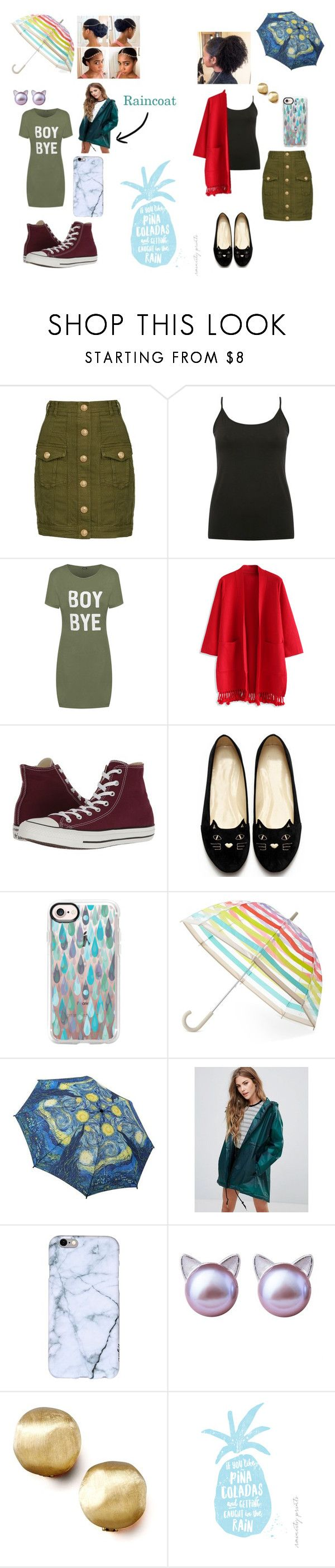 """""""Got caught in the rain"""" by keneko17therainbowprincess on Polyvore featuring Balmain, M&Co, WearAll, Chicwish, Converse, Casetify, Kate Spade, Hunter and Marco Bicego"""