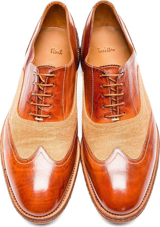 Paul Smith: Brown Leather Burlap Dennis Austerity Brogues