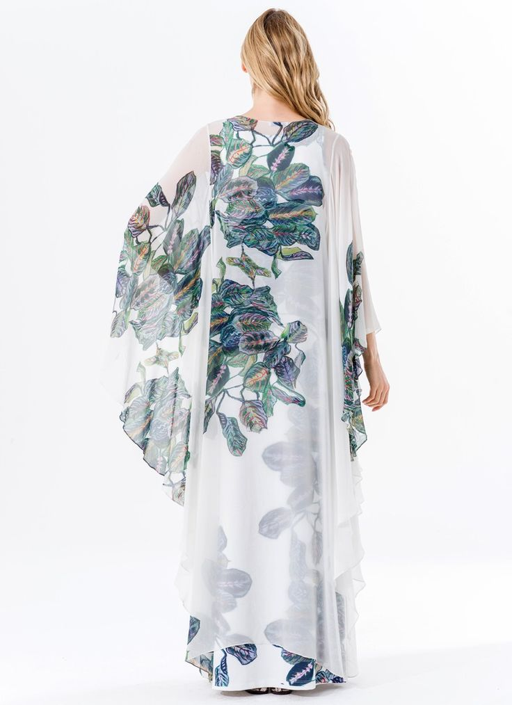 Tropical Leaves Oversized Georgette Stole