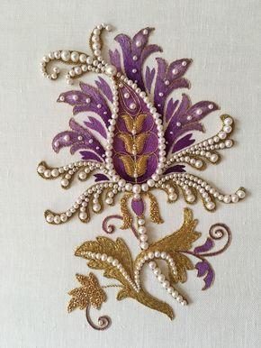 Purple flower. Silk shading, goldwork, pearls. Fits A4. Embroidery by Larissa Borodich