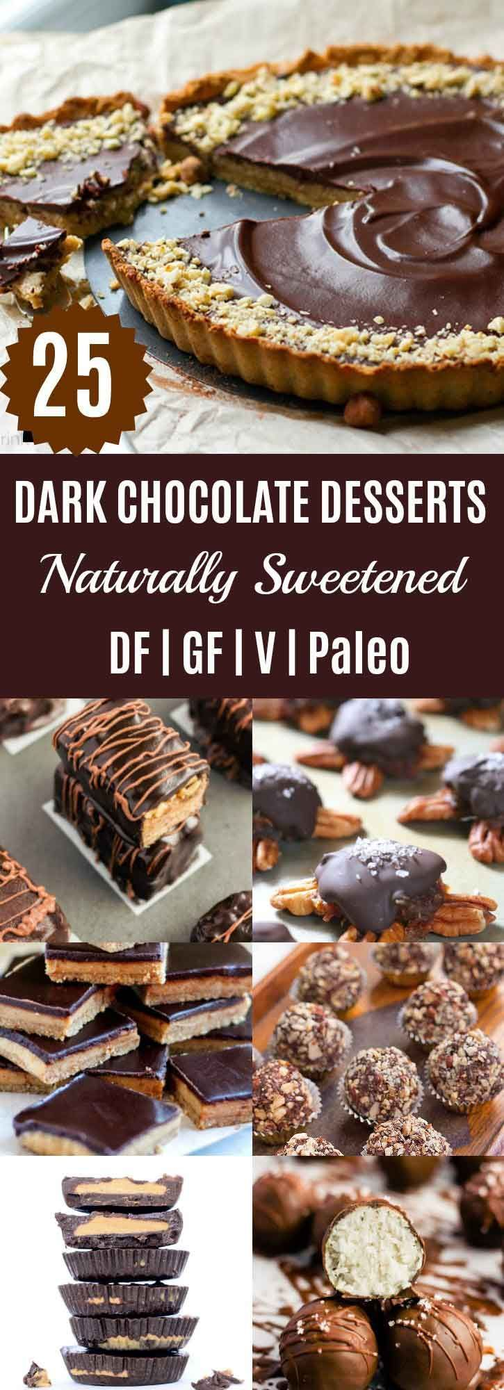 25 Dark Chocolate Desserts {Naturally Sweetened} | Looking for something chocolatey this Christmas season? Check out these 25 Chocolate Desserts that are made using only natural sweeteners such as dates, honey, maple syrup, & coconut sugar. | thenourishedfamily.com