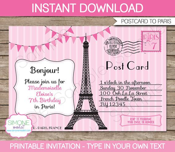 The 25 best paris invitations ideas on pinterest paris theme paris invitation template postcard to paris birthday party instant download with editable text you personalize at home stopboris Gallery