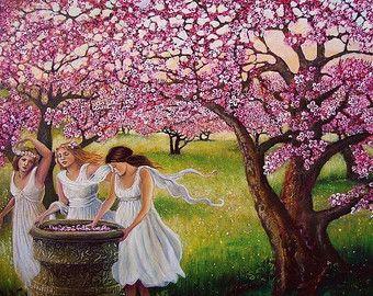 Spring Nymphs 8x10 Print Cherry Orchard Pagan Mythology Renaissance Goddess Art