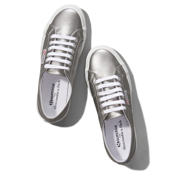 Abercrombie & Fitch Superga With A&FSilver Cotu Classic Sneaker ($45) ❤ liked on Polyvore featuring shoes, sneakers, superga, silver metallic, lace up sneakers, silver metallic shoes, real leather shoes, lace up shoes and metallic silver sneakers