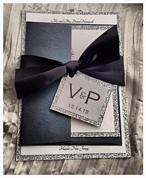 Black Tie Wedding Invitation, black and silver invitation, wedding invitations
