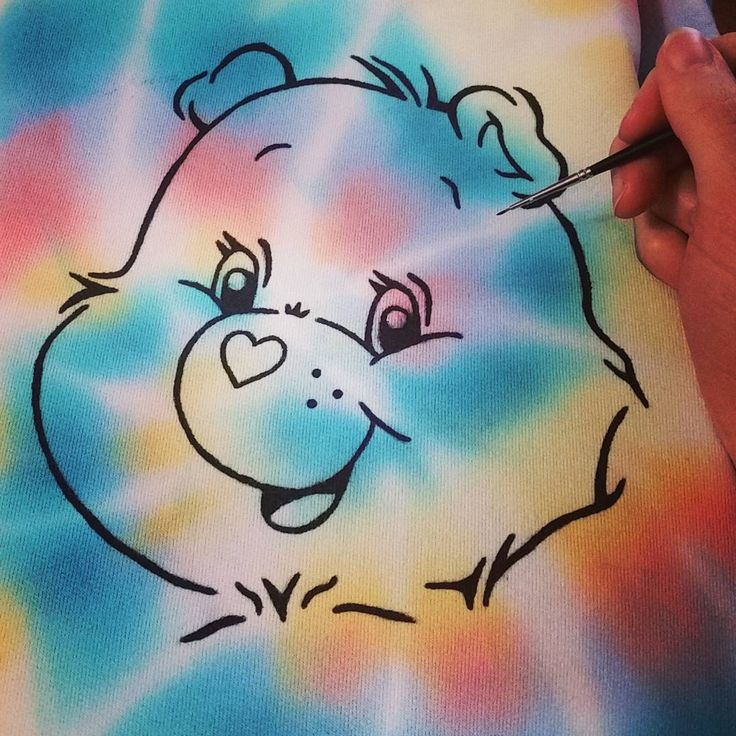 """Kaleidoscope Kid Clothing Co (@canada.tiedye) on Instagram: """"Tie-dye + Carebears =  Handmade Handpainted Nostalgia! Hoodie is an adult size Small (fits more…"""""""