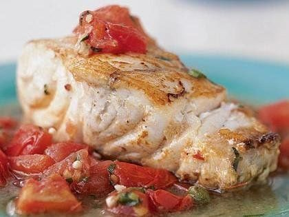 Baked Grouper with Chunky Tomato Sauce Recipe. Low Calories. Fat loss. Weight Loss Recipes