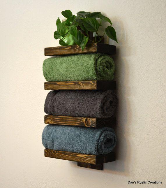 Rustic Wood Bathroom Towel Rack 4 Tier Shelf Dark  Walnut Finish on Etsy, $65.00