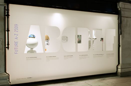 To celebrate 100 years of existence, Selfridges London put products from a century into the future on window display. Each object was assigned a letter and formed the ABCs of tomorrow.