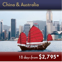 China & Australia - brought to you by Travel The World. Extraordinary Time-limited Adventures Events. Save up to 45% off Early Booking Fares! Click Picture Above to Contact us for Details.