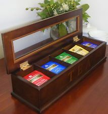Tea Bag Caddy - Timber - Glass Lid Display Wooden Box - 5 compartments Br- SH101