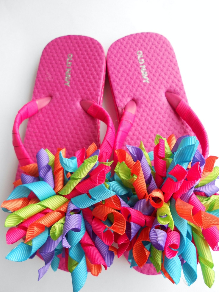 Bright summer boutique style flip flops  This is for Nicole. Attach your fancy hair bows that you have been making to flip flops! So cute :) We are making the water balloon ones today as our rainy day craft.