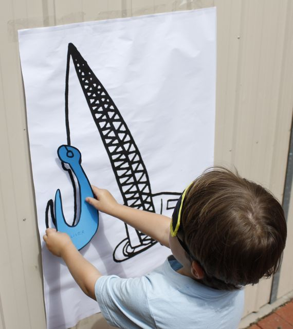 Construction Party games - pin the arm on the crane instead of pin the tail on the donkey. Check out http://www.five-forks.blogspot.com.au/ for more fun things to do at a #construction #party