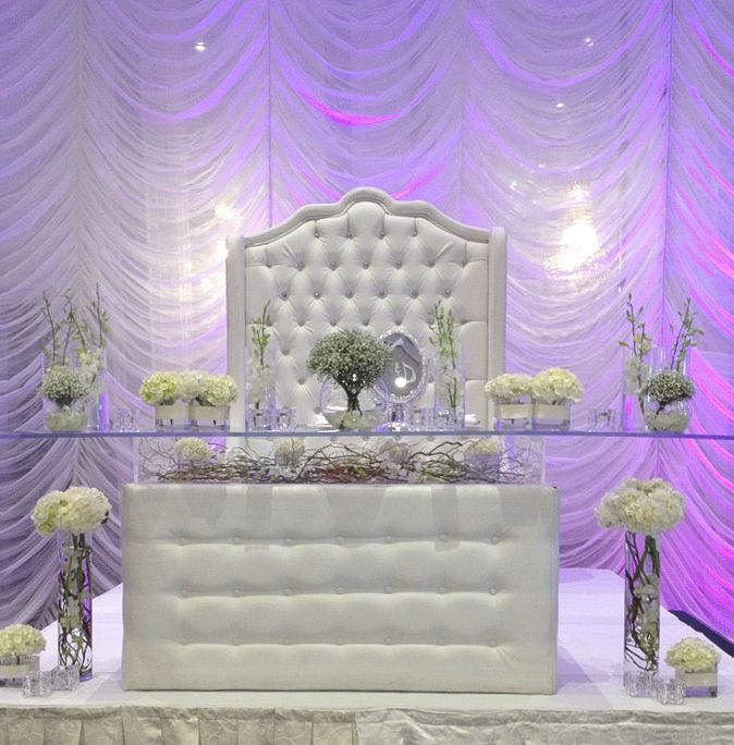 All white headtable with white hydrendea mini bouquets, white dendrobium orchids and branches