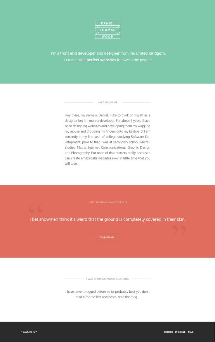 daniel thomas wood. personal website. flat design.