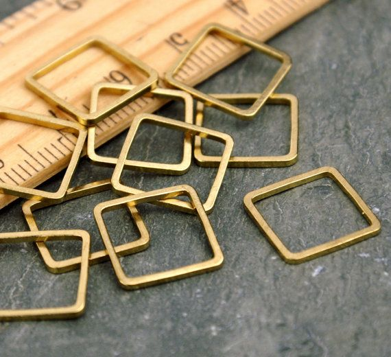 Square 12mm Solid Brass Tube Cut Closed Jump Ring by Goshen, $2.25